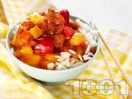 Пържено пиле с ананас и зеленчуци по китайски